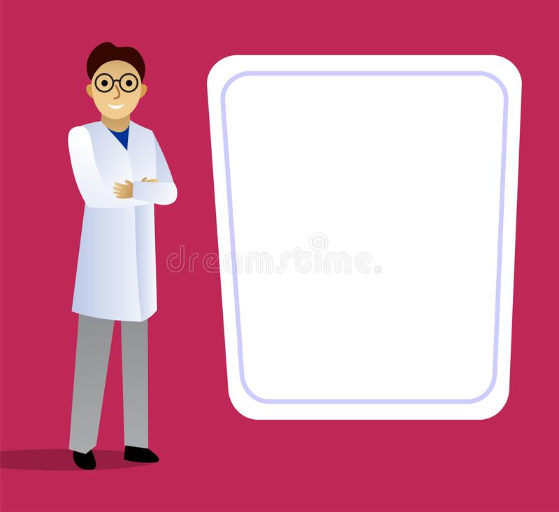 Scientist in a white coat standing at the blackboard. stock photos