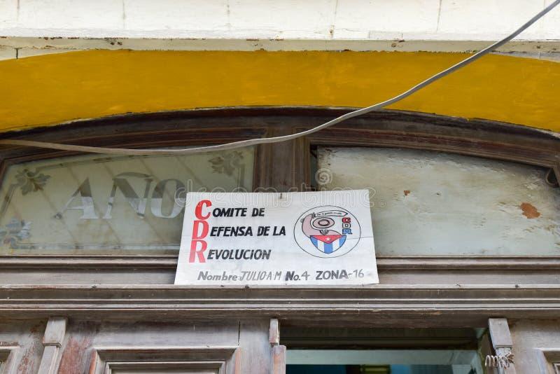 CDR - Havana, Cuba. Revolutionary propaganda, CDR sign representing the Committee for the Defense of the Revolution in Havana, Cuba stock photos
