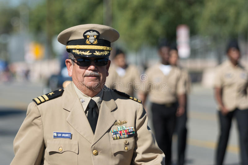 CDR Urquidez. Mission Hills, USA - November 11, 2015: CDR Urquidez during The San Fernando Valley Veterans Day Parade royalty free stock image