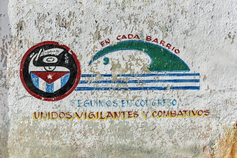CDR - Vinales, Cuba. Revolutionary propaganda, CDR sign representing the Committee for the Defense of the Revolution in Havana, Cuba stock image