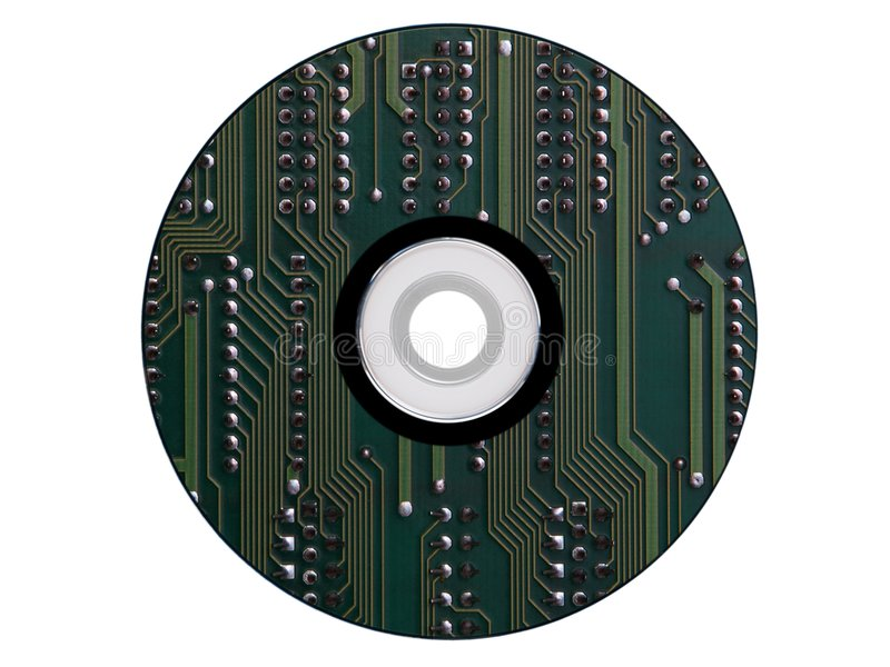Cdrom made from an electronic scheme. Isolated royalty free stock photos