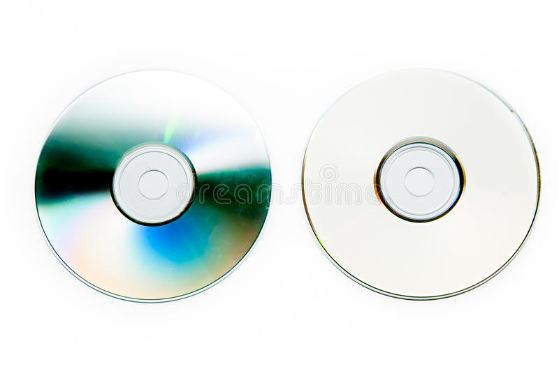 CDs, DVDs,. Front and back, on a white background royalty free stock image
