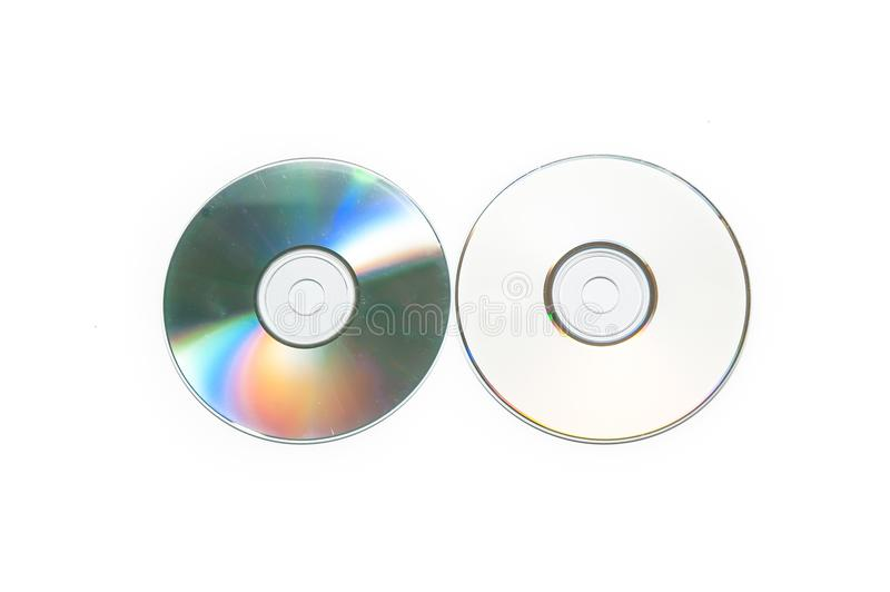CDs, DVDs,. Front and back, on a white background stock photos