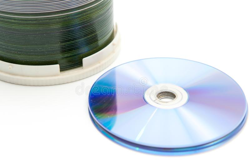CDs, DVDs,. On a white background stock image