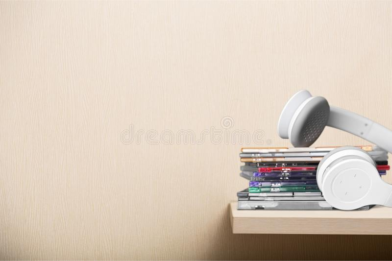 CDs and Headphones. Music Stereo Listening CD Case Audio Equipment Sound stock photography