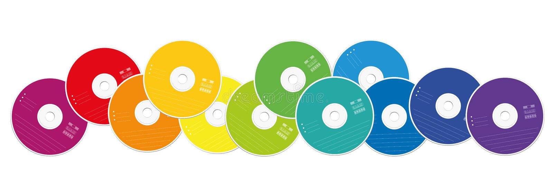 CDs Loosly被安排的五颜六色的收藏 库存例证