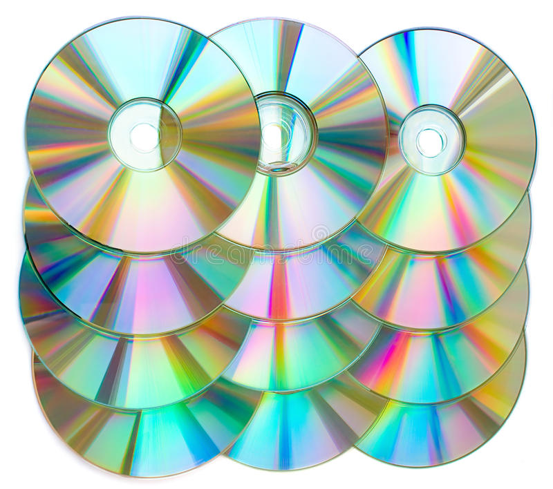 CDs in a rows stock photo