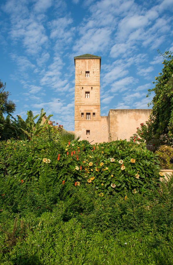 $ce-andalusisch tuinen in Udayas kasbah rabat marokko stock foto
