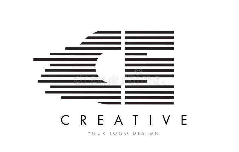 CE C E Zebra Letter Logo Design with Black and White Stripes vector illustration