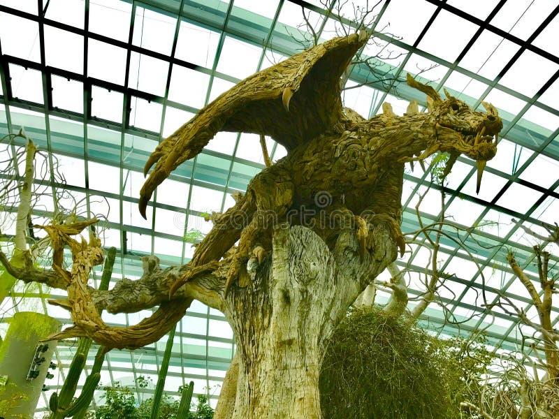 Ce dragon est fait de bois naturels d'arbre images stock