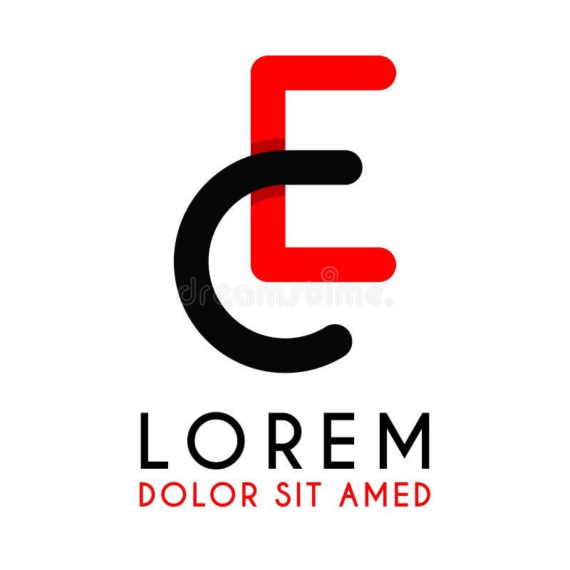 CE för den initiala bokstaven med röd svart och har rundat hörn royaltyfri illustrationer