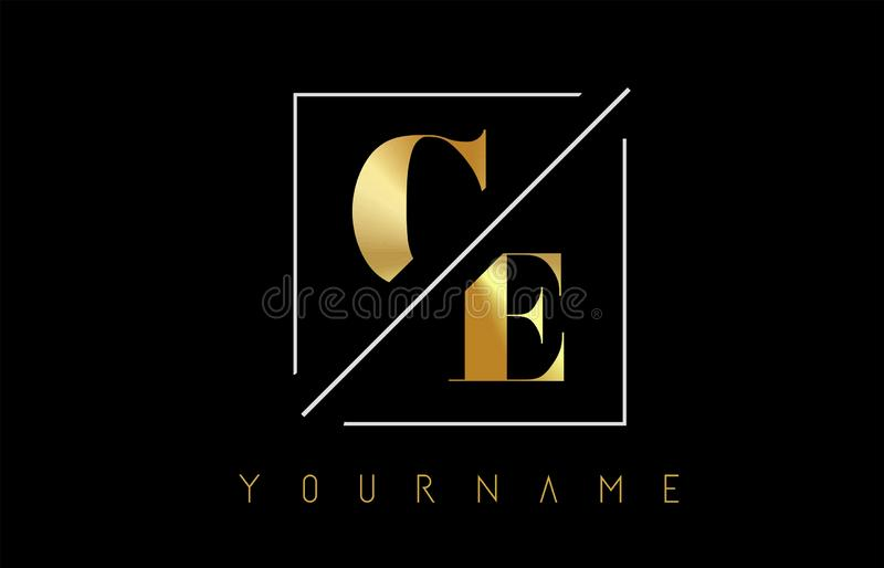 CE Golden Letter Logo with Cutted and Intersected Design. And Square Frame Vector Illustration stock illustration