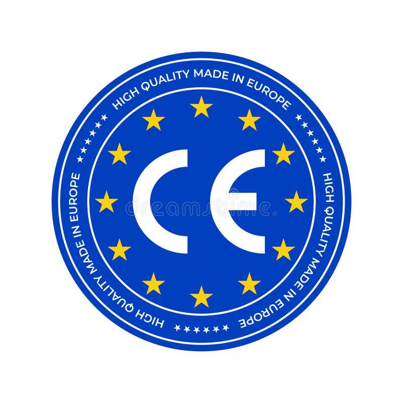 CE-Kennzeichnungs-Aufkleber oder europäisches Übereinstimmungsgütezeichen Zertifikat-Dichtungssterne Vektor EU-hoher Qualität lizenzfreie abbildung