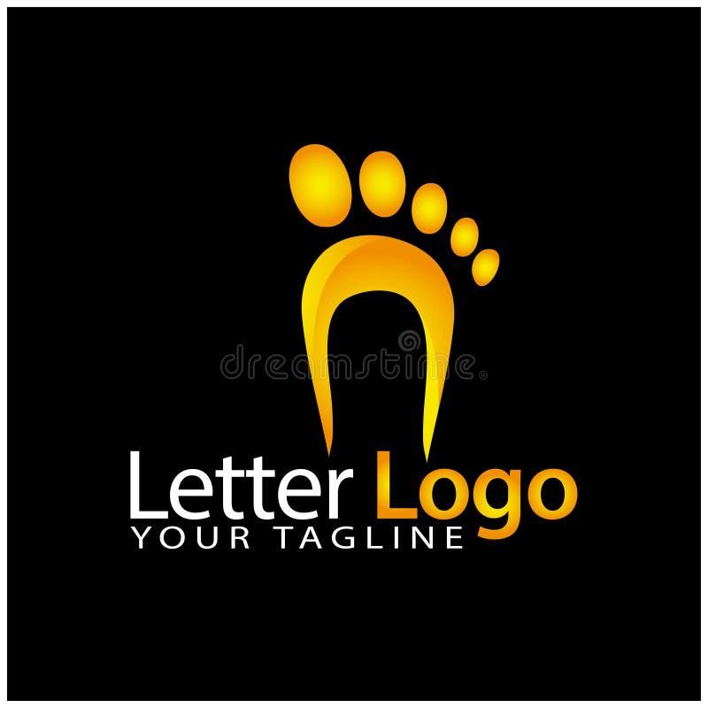 N foot logo template, stock logo template stock illustration