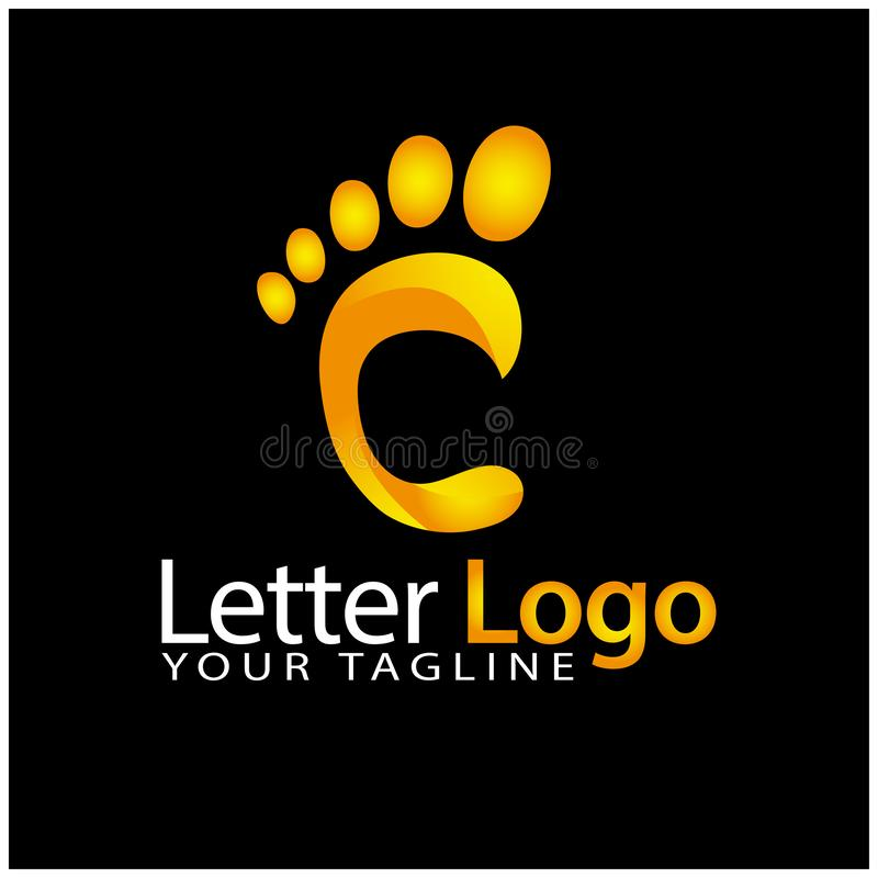 C foot logo template, stock logo template stock illustration