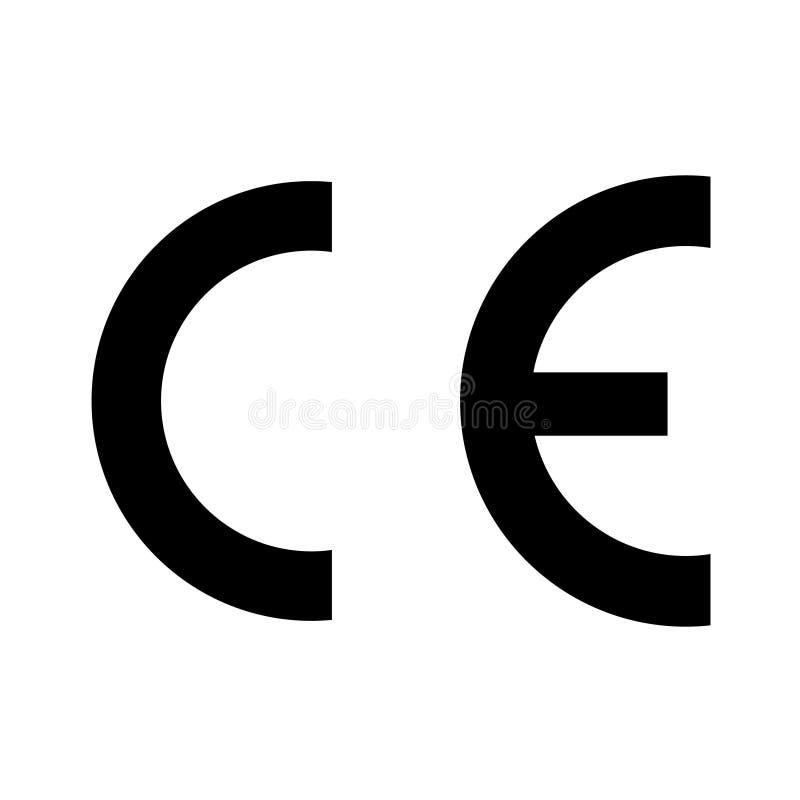 CE oceny symbolu czerń barwił na białym tle ilustracja wektor