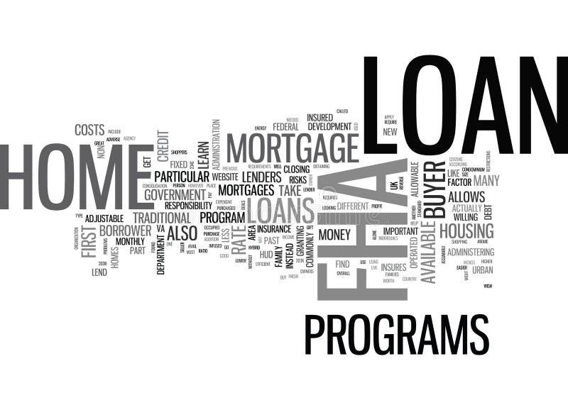 Ce qui est un nuage de Word de prêt hypothécaire de Fha illustration libre de droits