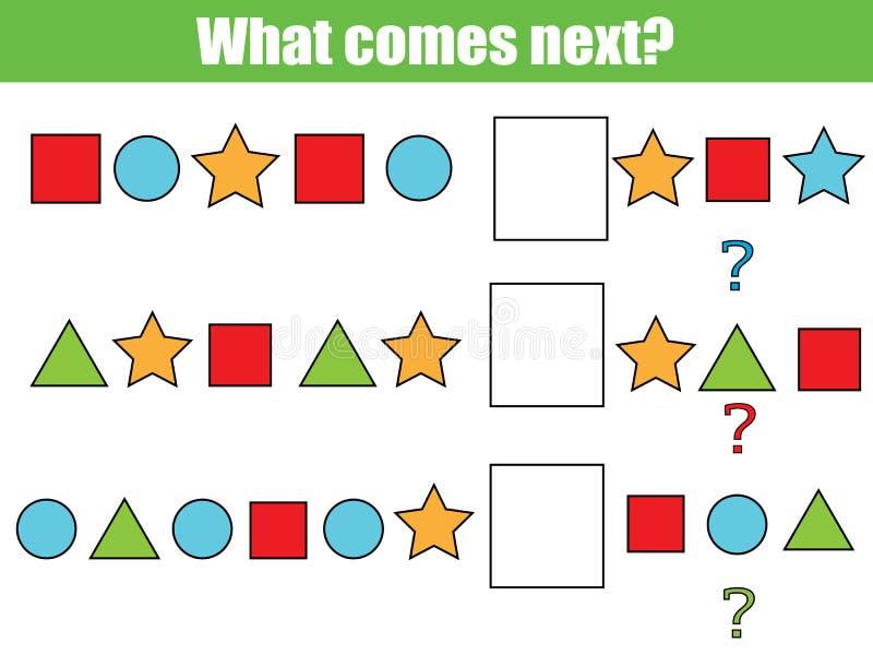 Ce qui vient prochain jeu éducatif d'enfants Badine la feuille d'activité, continue la tâche de rangée illustration stock