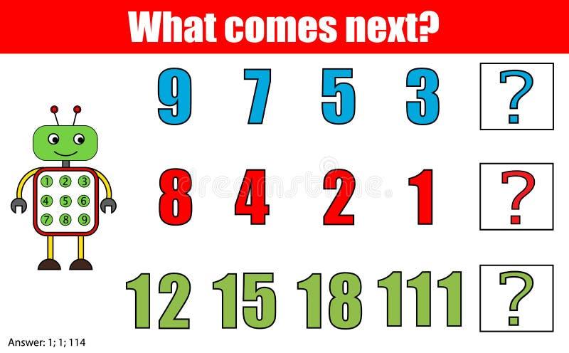 Ce qui vient prochain jeu éducatif d'enfants Badine la feuille d'activité, continue la tâche de rangée mathématiques illustration libre de droits