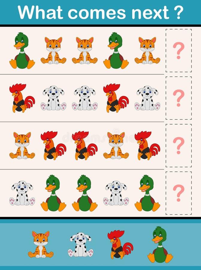 Ce qui vient prochain jeu d'activité éducative pour les enfants préscolaires avec des animaux illustration de vecteur