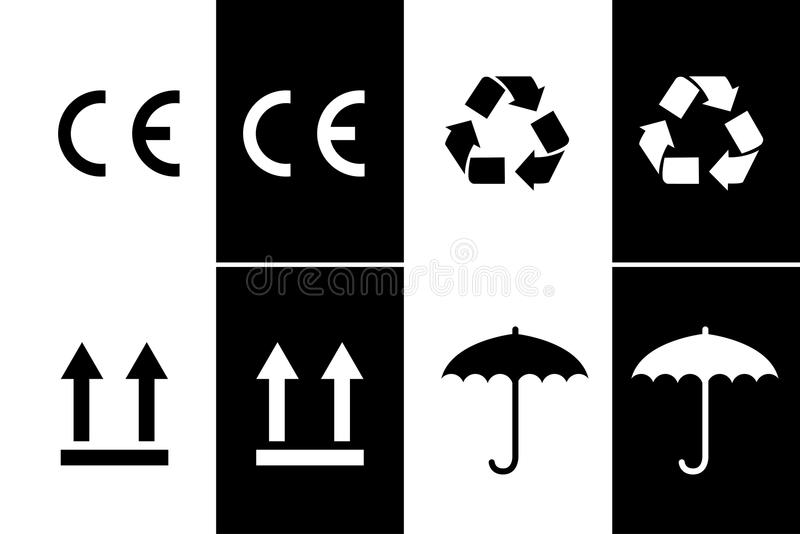 CE sign black and white vector illustration