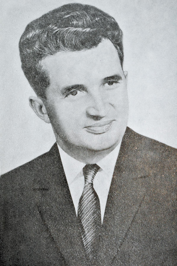 Ceausescu. Vintage portrait of the former famous communist president of Romania Nicolae Ceausescu (1918-1989 royalty free stock photography