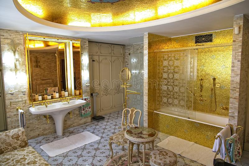 Ceausescu Palace Bathroom. BUCHAREST, ROMANIA - MARCH 7, 2017: The Ceausescu Palace or sometimes called The Ceausescu Mansion or Spring Palace.  Was restored to stock images