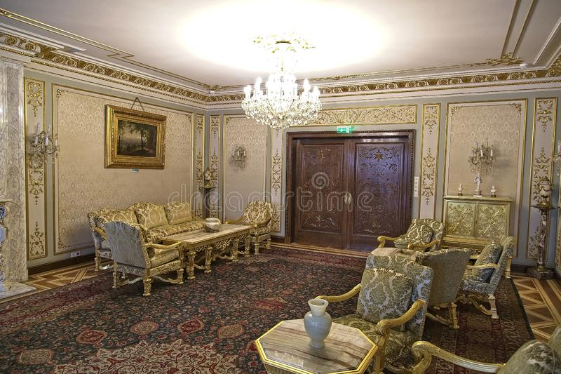 The Ceausescu Palace. BUCHAREST, ROMANIA - MARCH 7, 2017: The Ceausescu Palace or sometimes called The Ceausescu Mansion or Spring Palace.  Was restored to how stock photos