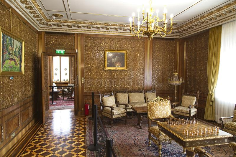 Ceausescu Palace Chess Room. BUCHAREST, ROMANIA - MARCH 7, 2017: The Ceausescu Palace or sometimes called The Ceausescu Mansion or Spring Palace.  Was restored royalty free stock images