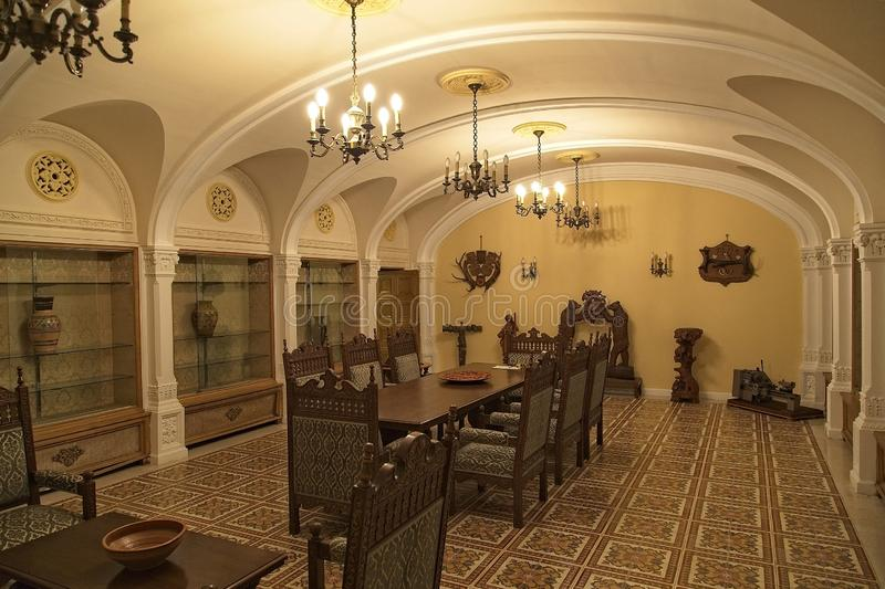 Ceausescu Palace Dinning. BUCHAREST, ROMANIA - MARCH 7, 2017: The Ceausescu Palace or sometimes called The Ceausescu Mansion or Spring Palace.  Was restored to stock images