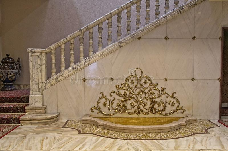 Ceausescu Palace Entry. BUCHAREST, ROMANIA - MARCH 7, 2017: The Ceausescu Palace or sometimes called The Ceausescu Mansion or Spring Palace.  Was restored to how stock image