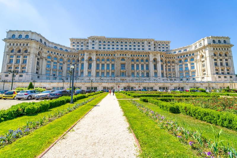 Ceausescu Palace and gardens at Bucharest stock image