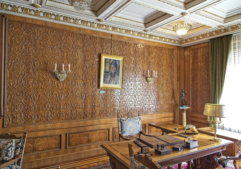 Ceausescu Palace Office. BUCHAREST, ROMANIA - MARCH 7, 2017: The Ceausescu Palace or sometimes called The Ceausescu Mansion or Spring Palace.  Was restored to stock images