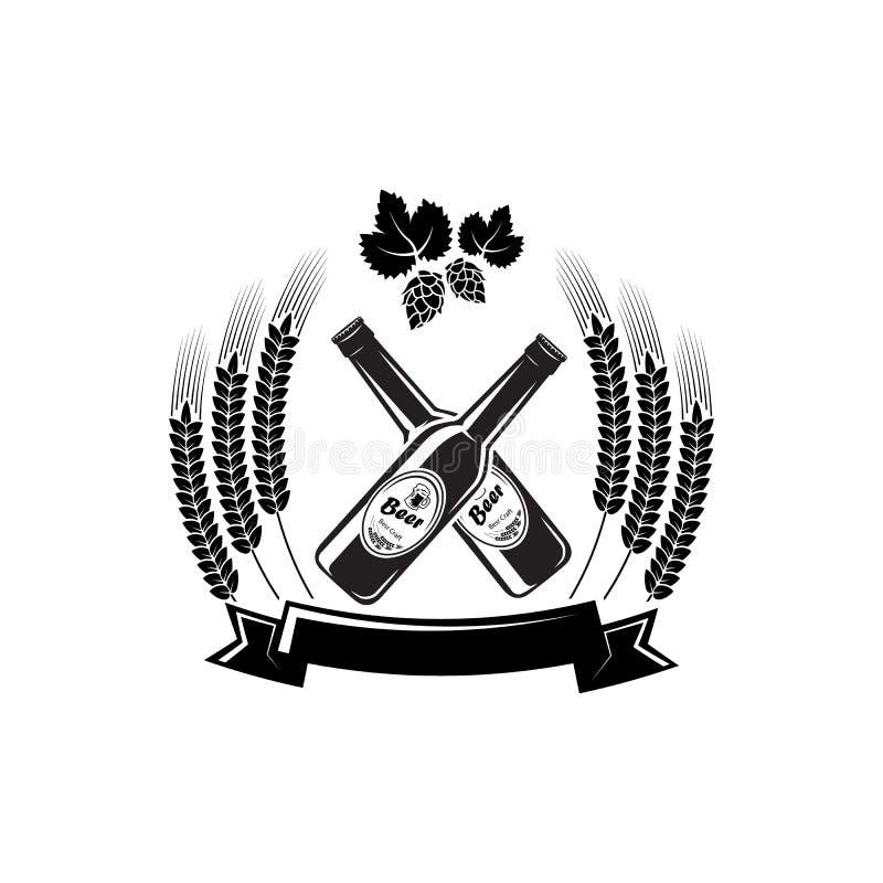 Cebada de la cervecería de Logo Barrel Pub Bar Tavern de la botella de cerveza que elabora la etiqueta alcohólica de la cinta de  ilustración del vector