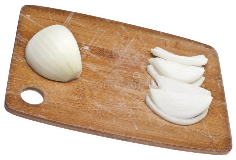Cebola branca cortada fotos de stock