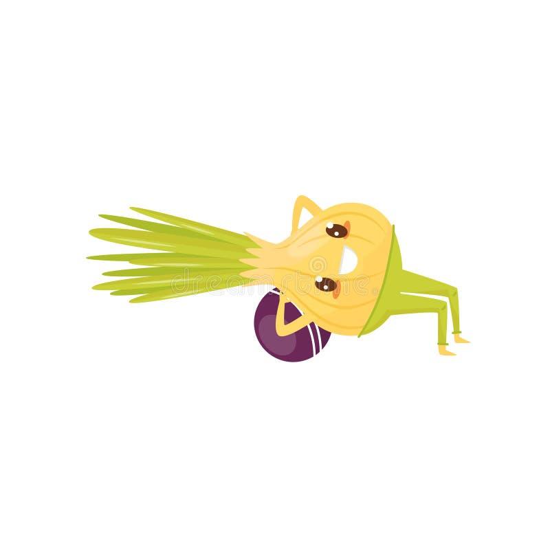 Cebola engraçada que exercita com bola, personagem de banda desenhada vegetal desportivo que faz a ilustração do vetor do exercíc ilustração royalty free