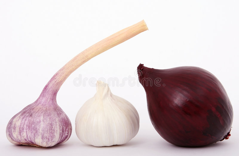 Cebola francesa, cebola vermelha e alho fotografia de stock