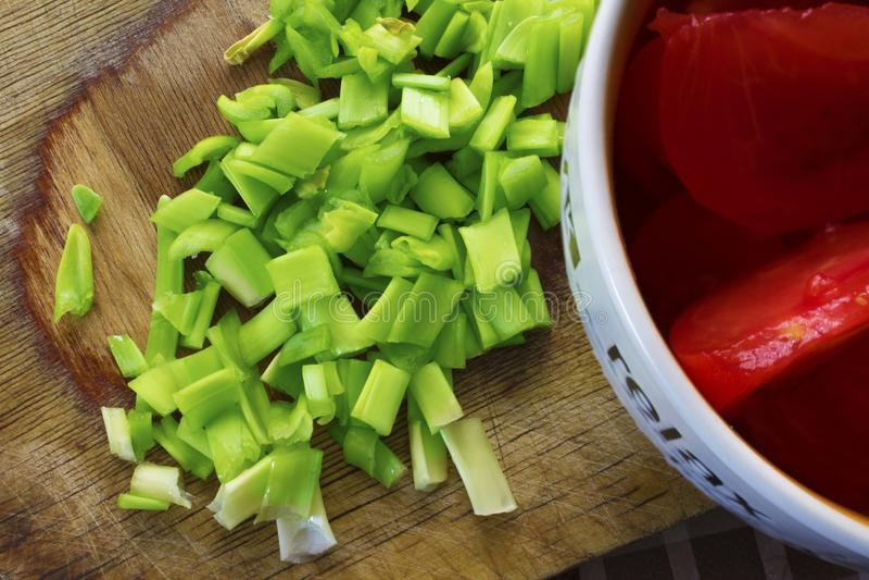Cebolas e tomates foto de stock royalty free