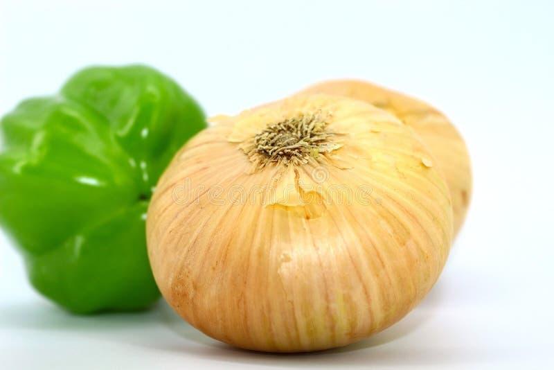 Cebolas velhas do inverno e pimentas de sino verdes frescas novas imagem de stock royalty free