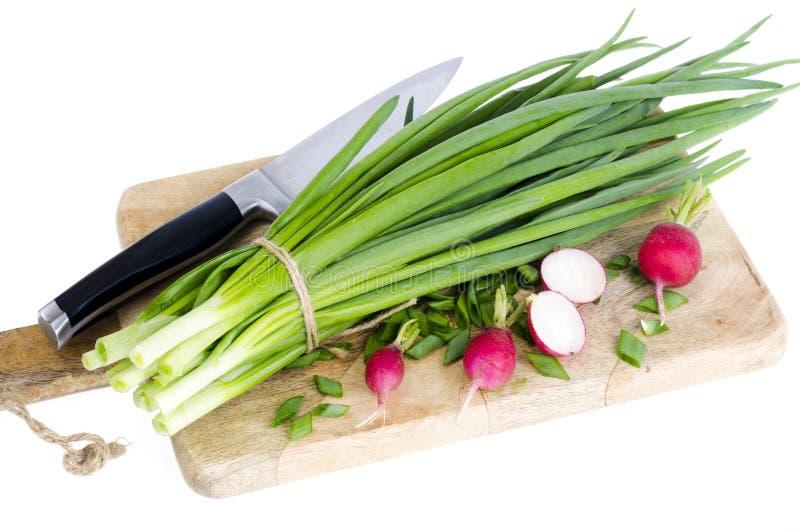 Cebolas verdes frescas, rabanete vermelho na placa de corte fotos de stock royalty free