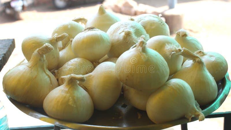 Cebolla cruda blanca de la India fotos de archivo