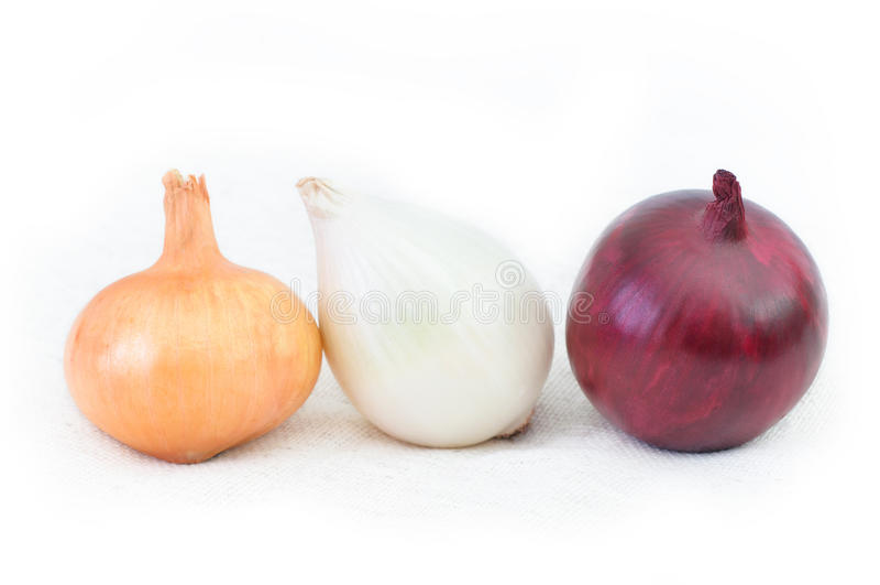 Cebolla roja y blanca, en el fondo blanco Differe tres fotos de archivo libres de regalías