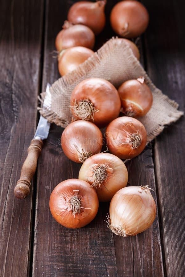 Download Cebollas De Brown En Un Fondo De Madera Oscuro Rústico Imagen de archivo - Imagen de mercado, fondo: 42435573