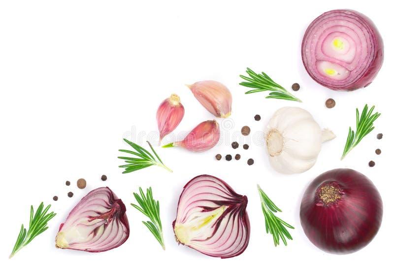 Cebollas rojas, ajo con romero y granos de pimienta aislados en un fondo blanco con el espacio de la copia para su texto Visión s stock de ilustración