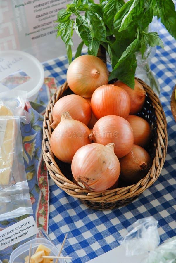 Cebollas y albahaca frescas fotografía de archivo