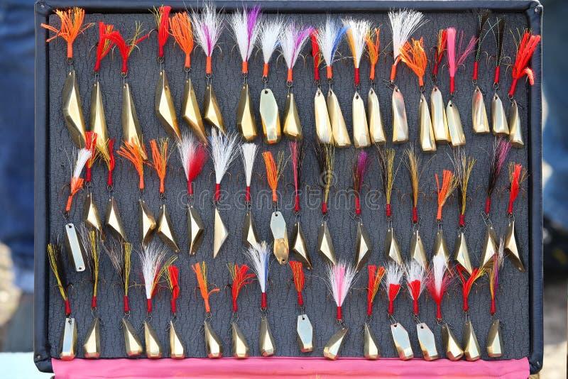 Cebos de cuchara, trastos y wobblers hechos a mano Pesca de señuelos y de los accesorios imagen de archivo libre de regalías
