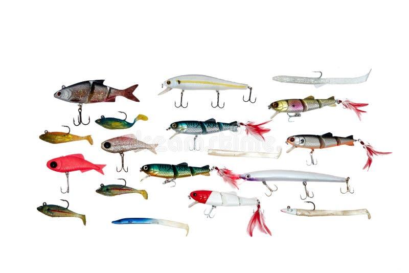 Cebos de pesca aislados en el fondo blanco imagen de archivo