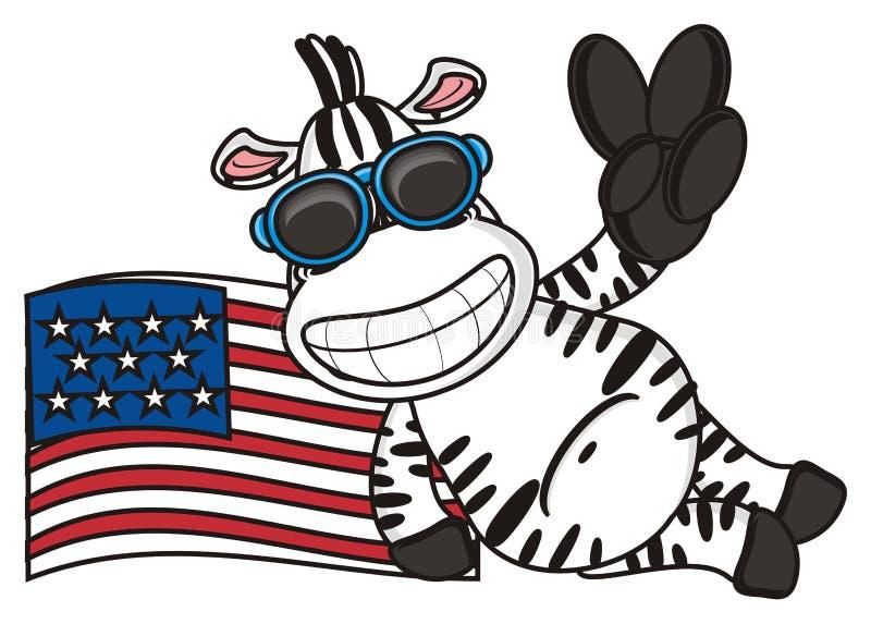 Cebra cerca de la bandera americana libre illustration
