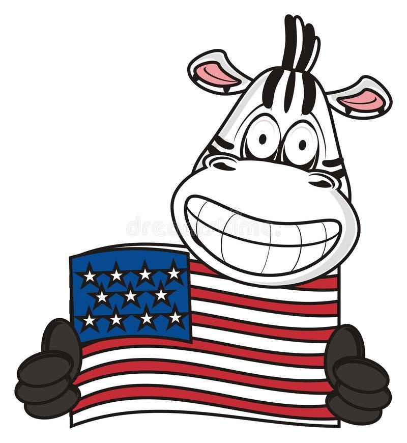 Cebra cerca de la bandera americana stock de ilustración