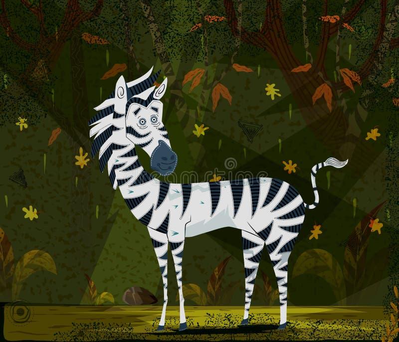 Cebra del animal salvaje en fondo del bosque de la selva ilustración del vector